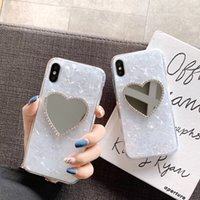 Wholesale s note case online – custom Luxury Diamond Marble Love Makeup mirror Phone Case for iphone S plus X XR XS MAX for samsung Galaxy S8 S9 Note S10 E