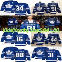 88 jersey de hockey para jóvenes al por mayor-Toronto Maple Leafs niños (juventud) Jersey 91 Juan Tavares 34 Auston Mateo 16 Mitchell Marner 88 William Nylander los jerseys del hockey