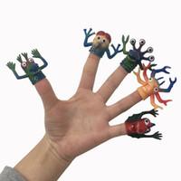bonecas de brinquedo antigas venda por atacado-Criativo novo estranho dedo animal das crianças TPR dedo conjunto Menino história antes de dormir Pequeno monstro boneca brinquedo mais de sete anos V091