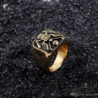 ringe cowboys großhandel-Edelstahl American USA Emblem Abzeichen Ring für Männer - Weißkopfseeadler American Style Ringe für Reiter Cowboy Schmuck Geschenke (US-Größe 8-14)