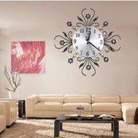 ingrosso orologi in metallo-Orologio da parete in metallo vintage di lusso con diamanti grandi ciondoli a parete aghi orologio Morden Flower Design accessori per la decorazione della parete di casa