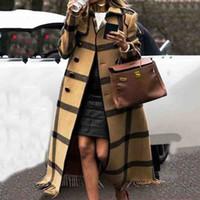 abrigos de lana británicos al por mayor-Caída de mezcla de lana retro de las mujeres del invierno cubre más el tamaño de abrigo amarillo británica Gráficos zanja larga señoras de la oficina abrigos 2019