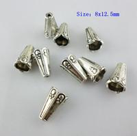 encantos de cuerno al por mayor-150 unids de Plata Tibetana 8.5x12.5mm / 9x9.5mm Cuerno Forma de Flor Granos de los granos DIY Accesorios de Joyería de Encanto para la Artesanía Hacer hallazgos