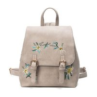 a29db0d73ea8 2019 FashionWomen Leather Backpacks Female School bags for Girls Rucksack  Small Floral Embroidery Flowers Bagpack Mochila