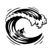 wording Waves with Surfer vinyl decal//sticker ocean