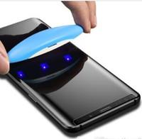 tpu anti şok ekran koruyucusu toptan satış-Nano Sıvı UV Tam Tutkal Temperli Cam Samsung S8 S9 Artı S7 Kenar Not 8 9 Ekran Koruyucu Için Huawei Mate 20 Pro P30 Pro 1 + 7 UV Işık