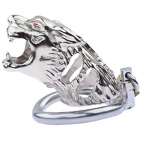 Wholesale new cbt toys resale online - New Tiger Head Metal Chastity Cage Penis Lock Cock Cage Stainless Steel Male Chastity Device Bondage Bdsm Men Cbt Sex Toy