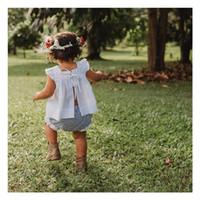 ekose gömleği yelek toptan satış-Çocuklar Küçük Kızlar Yaz Suit Lace Up Yelek Kolsuz Yelekler Ekose Şort Kıyafetler Bebek Butik Yürüyor Bluz Üst Ekose Şort Set A3122