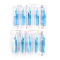máquina de tatuagem descartável tubo grip venda por atacado-10 pcs 3/5/7 / 9R Azul Misturado Esterilizado Tatuagem Descartável Bico Da Máquina Pontas de Agulha Tubo Para Tattoo Gun Agulha de Tinta Copo Grip Kits