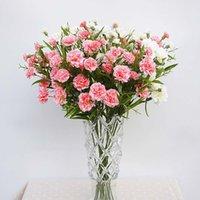 seiden nelken großhandel-Künstliche Blumen billig für Weihnachten Home Hochzeit Dekoration DIY Muttertag Geschenk Fake Plastic Blumen Zweig Silk Carnation