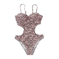 сексуальные вырезанные купальники monokini оптовых-Women Sexy Leopard Printed One Piece Bikini Deep V-Neck Spaghetti Straps Monokini Hollow Out Cut Off Waist Backless Swimsuit Hig