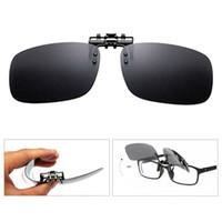 ingrosso occhiali da sole polarizzati giallo anti glare-New Clip On Eye Glasses Night Vision Lenti polarizzate Driving Sunglasses Flip Up Anti UV Glare Occhiali da sole per Myopic Lens - Giallo
