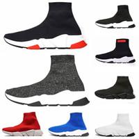 zapatos azules purpurina para mujer al por mayor-2019 Calcetines de diseñador zapatos moda hombre mujer zapatillas de deporte entrenador de velocidad negro blanco azul rosado brillo para hombre entrenadores zapato casual Runner suela pesada