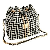 Wholesale bohemian bucket bag resale online - Women bag chains fashion bucket bag canvas patchwork women shoulder messenger handbag Black and white grid