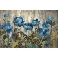 lienzo plateado al por mayor-Pintura al óleo para la decoración de la pared de Silvia Vassileva Silver and Sapphire Flower, hecha a mano.