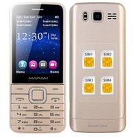 Wholesale MAFAM Four Quad SIM Four Standby Slim Senior Mobile Phone quot HD Screen Bluetooth Dial Flashlight Magic Voice GPRS SOS V9500