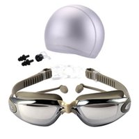 Wholesale nose caps resale online - 2018 New Unisex Anti Fog UV Protection Surfing Swimming Goggles Professional Swim Glasses with Swim Caps Earplugs Nose Clip Setj