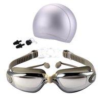 gafas protectoras al por mayor-2018 Nuevo Unisex Protección contra la niebla y contra los rayos UV Gafas de natación para practicar surf Gafas de natación profesionales con tapas de natación Tapones para los oídos Nariz Clip Setj