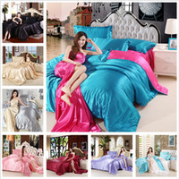 Wholesale red white king size bedding resale online - Boxi Satin Silk Bedding Set Luxury Bedding Kit Duvet Cover Flat Sheet Pillowcases Home Textile King Size Bed Set Bedclothes