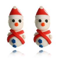 ingrosso orecchino polimerico fatto a mano-2018 Nuovo arrivo Handmade Polymer Clay Soft Lovely Santa Snowman Orecchini New Fashion Christmas Piercing Ear Stud Jewelry