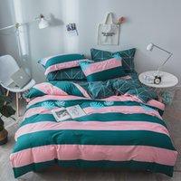roupas de cama rosa e verde venda por atacado-Pink Pattern Stripe verde gêmeo cama Set Rainha Rei Full Size Lençois 4pcs / Set Duvet Cover Set Folha de cama AB Side Pillowcase