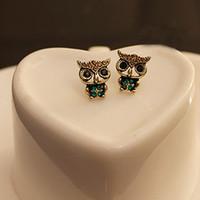 ingrosso accessori delle gufo delle ragazze-susenstone Fashion Style Owl Strass Cute Vintage Ear Stud Earrings Cute Girl Women accessori belli # 35