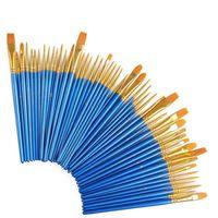 ingrosso arte dell'olio d'oliva-Fabbrica wholeseale 50 pezzi Dettaglio Professionale capelli sintetici legno manico corto forniture d'arte Acquerello Set pennello ad olio