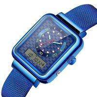 exposição digital do relógio do quadrado preto venda por atacado-Moda mulher homens relógios esportes à prova d 'água das mulheres mens relógios de pulso azul quadrado preto de quartzo digital Dual Display