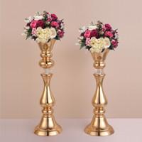vasos de mesa chinesa venda por atacado-Ouro Flor Rack de 45/50 CM Alto Suporte De Vela Centrais De Mesa De Casamento Vaso Decoração Do Partido Do Evento Estrada chumbo