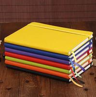 a5 lederne notizbücher großhandel-Klassisches Notizbuch Hardcover Notizbuch A5 Costom Design College Liniertes PU-Leder mit elastischem Taschenverschluss Banded 100sheets LX6829