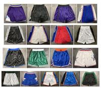 pantalones multi hombre al por mayor-Calidad superior! 2019 Equipo Pantalones cortos de baloncesto Hombres Pantalones cortos Pantalones cortos deportivos Pantalones de colegio Blanco Azul Rojo Púrpura Amarillo Negro