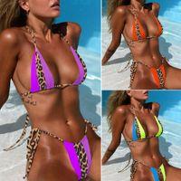 senhoras levantam biquínis venda por atacado-Mulheres Verão Natação Two Piece Beachwear Bikini Set Ladies Sexy Patchwork Bandage de banho Push Up Bra acolchoado Swimwear Swimsuit