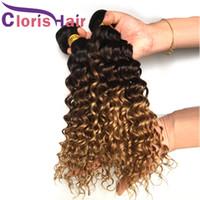 Wholesale honey brown hair weave resale online - Colored Brown Honey Blonde Curly Extensions Brazilian Virgin Deep Wave Ombre Human Hair Bundles Cheap B Highlight Weaves Deals