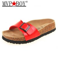 Wholesale leather babouche for sale - Group buy women MVP BOY plus size cork famous brand flower printing flip flops unisex buckle slippers beach sandals wmen Babouche
