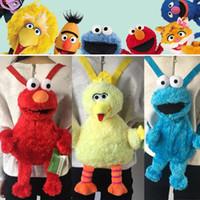 dibujos animados de estilo de la calle al por mayor-3 Estilos de 46 cm del monstruo de Elmo de Plaza Sésamo Cookies regalos peluches mullido Mochila grande de la historieta del pájaro bolsa de relleno muñeca de juguete para niños