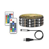 luces de tira de 12v dc al por mayor-5050 DC 5V RGB USB Tiras de LED a prueba de agua 30LED / M Tiras de luces LED de TV Cinta de neón flexible agregar control remoto para el fondo de TV