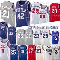 basketball jersey 17 großhandel-NCAA Trikots 25 Simmons 42 Horford 21 Embiid 23 Butler 20 Fultz 33 Harris 17 Redick 3 Iverson 6 Erving Jersey 2019 maillots basketall de