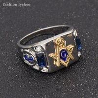 jóias de moda maçônica venda por atacado-Lichia moda maçom homens de cristal anel de estilo punk maçônica moda motociclista anéis de dedo presente da jóia