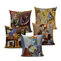 pinturas fundas de almohada al por mayor-45x45cm Fundas de cojines decorativos de época Pablo Picasso Pinturas Decoración Almohadas Noche estrellada Arte abstracto Fundas de cojines Fundas de almohada