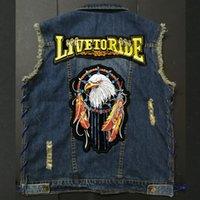 canlı ceket toptan satış-En Yeni Jeans Motosiklet Yelek Erkek ceket Yelek Yelek Motorlu Biker Jacket İçin Siyah kot Yelekler Live to Ride
