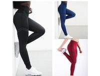 mavi yeşil tozluklar toptan satış-WomenYoga Spor Yüksek Swaist Uzun Kalem Pantolon İnce Tozluklar Kırmızı Mavi Siyah Yeşil Katı Renk Pantolon