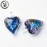 Wholesale lampwork glass heart pendant resale online - 12pcs Heart Lampwork Glass Pendants Inner Flower Gold Sand for Necklace Bracelet Making Mixed Color x31x14mm Hole x8mm