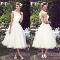 Wholesale short lace wedding dresses for sale - 2019 Sheer Neck Lace Beach Wedding Dresses Scoop Tea Length Cap Sleeve Tulle Bridal Wedding Gowns