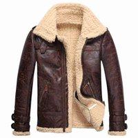 polaire vintage achat en gros de-Veste en cuir d'agneau en fourrure polaire vintage pour homme