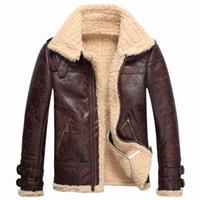 eski tül toptan satış-Vintage Erkek Deri Kuzular Kürk Polar Bombacı Uçuş Kışlık Mont Toka Ceket