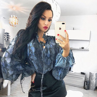 Wholesale sexy christmas top shirt online - long lantern sleeve snakeskin high neck loose sexy tops winter spring women fashion Christmas party casual T shirts