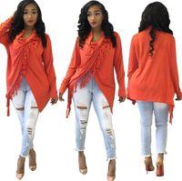 camisas naranjas para niñas al por mayor-Borlas de punto asimétrico Camisetas Mujer Naranja Cuello tortuga Manga larga Kimono Dobladillo irregular Blusa larga Chicas Calle top Camisetas