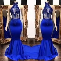 ingrosso blu vedere attraverso abito da sera-Popular Royal Blue High Neck Prom Dresses Foto reali 2019 Mermaid See Through Beads Paillettes Top in raso abiti da sera lunghi BC0798