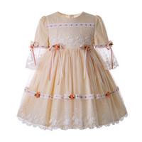 menina vestido de noite menina venda por atacado-Pettigirl Champagne Lace Girl Comunhão Vestidos de Princesa Com Flor de Malha Vestidos de Noite Crianças Roupas de Designer Meninas G-DMGD112-C124