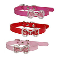 Wholesale leather dog collars leads resale online - Adjustable Pet Collar Leads Crystal Bow Leather Dog Collar Puppy Choker Necklace